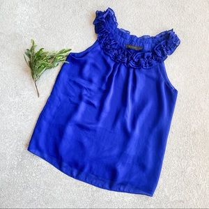 The Limited Royal Blue Ruffle Neck Blouse